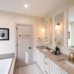 double bowl vanity, medicine cabinet,