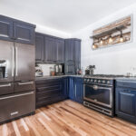 Blue, Stain, Kitchen, Amish, Full Overlay