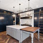 Painted, Blue, White, Kitchen, Island, Amish