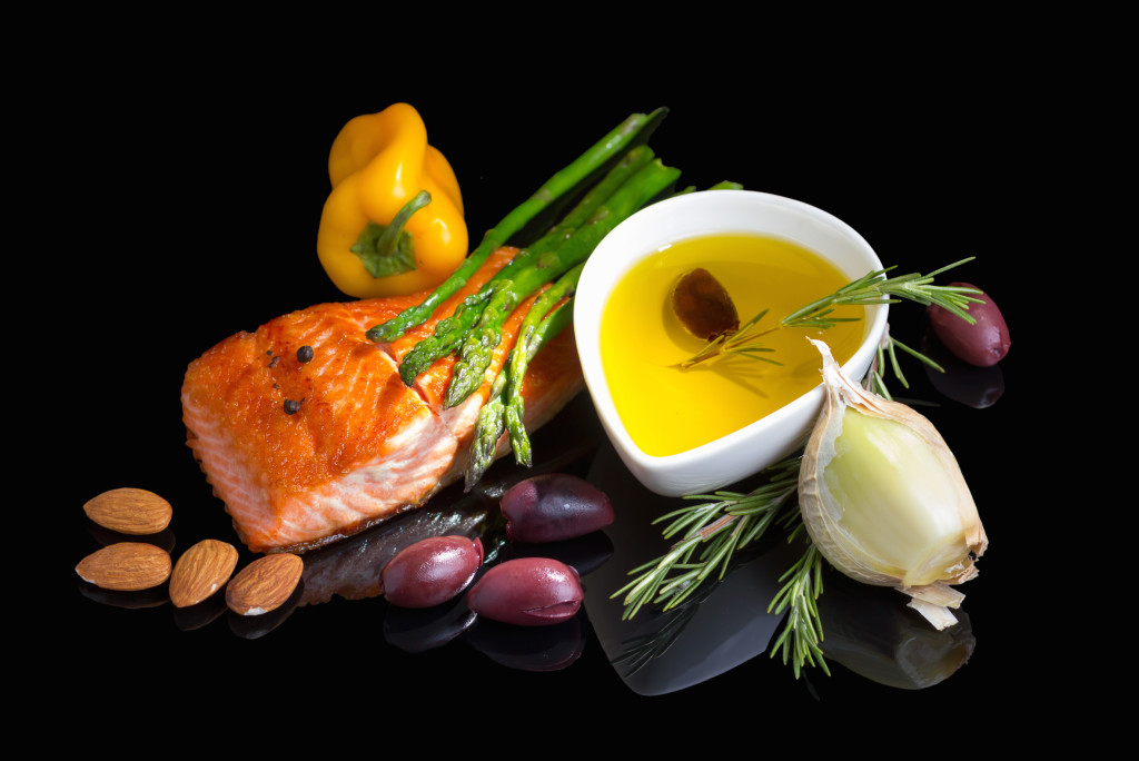 Foods such as salmon contain Omega-3 fatty acids, which are part of a healthy anti-inflammatory diet.
