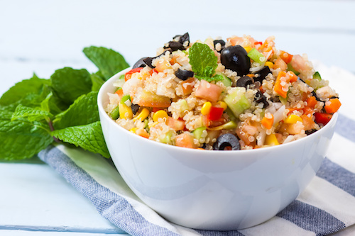 Quinoa salad is a great way of getting the high protein foods you need.