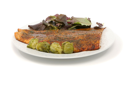Creamy Mustard Roasted Salmon With Sautéed Brussels Sprouts