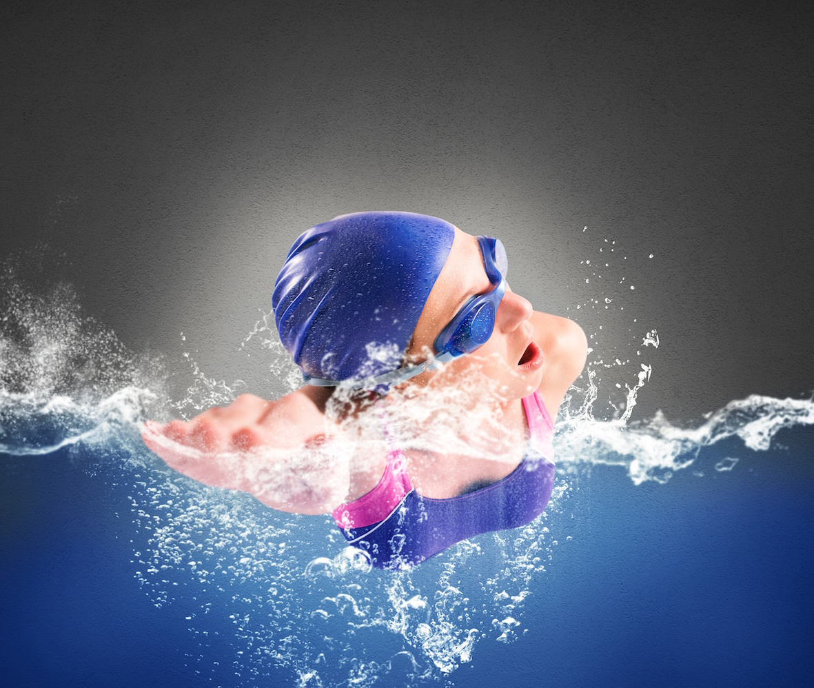 Girl Swims In The Pool In Freestyle