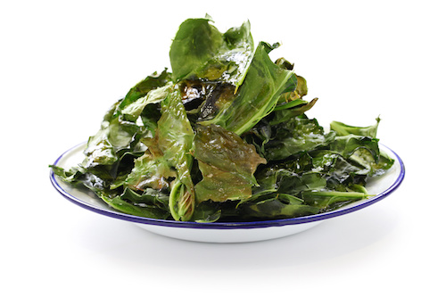 Kale chips are one of our favorite low calorie snack ideas.