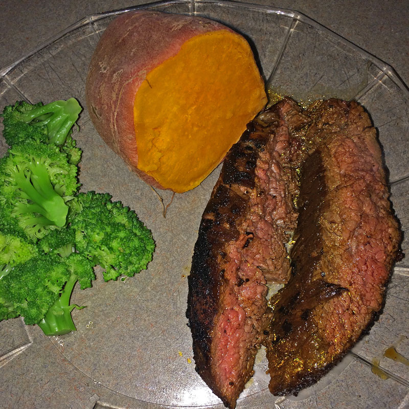 Grilled Flank Steak With Herby Mashed Peas And Cauliflower