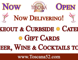 Open for catering, food & bar takeout, curbside, & delivery!
