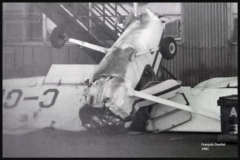 Un C150 suite à une panne de moteur au décollage. St-Jean-sur-Richelieu, 1981.