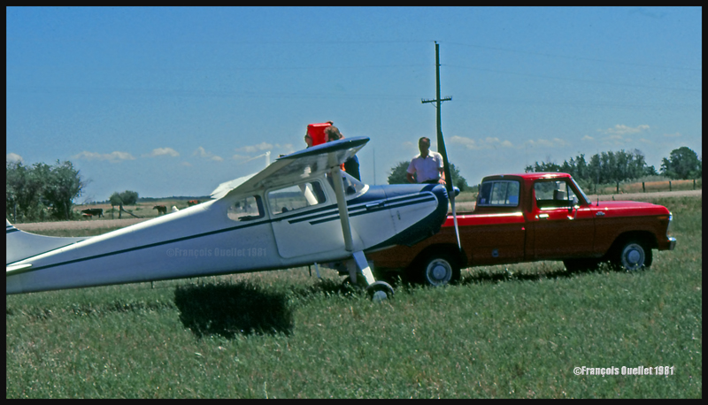 Landing in a field with a Cessna C170B in Lundar, Manitoba in 1981.