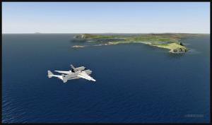 Antonov 225 avec la navette russe Bourane en rapprochement pour Sumburgh, Écosse (FSX)