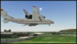 Antonov 225 avec la navette Bourane en courte finale pour Sumburgh, Scotland (FSX)
