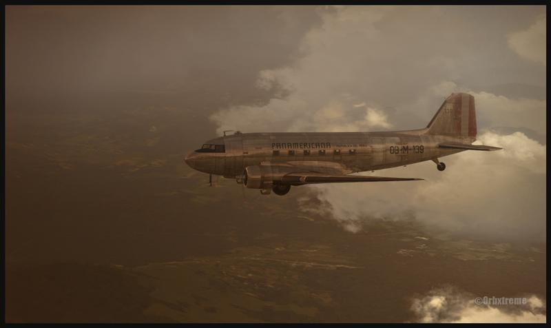 Photo d'un DC-3 de la compagnie Panamericana en vol au-dessus du Pérou (FSX)