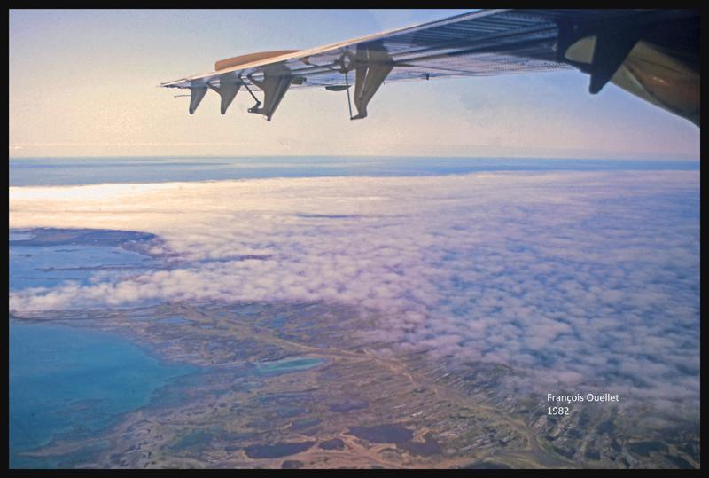 1982. Une vue de Sanikiluaq à partir d'un Twin Otter d'Austin Airways