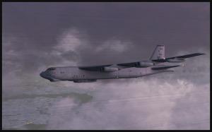 Boeing B-52 (FSX) entre deux couches de nuages au-dessus de Montréal