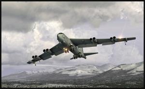 Boeing B-52 avec volets et train sortis sur l'approche pour Anchorage (FSX)