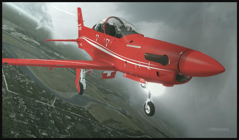 Un Pilatus PC-21 retourne atterrir à Kenai, en Alaska, après une séance d'entraînement (FSX et Cumulus X)