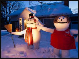 Oeuvre de neige, de glace et de bois composée par un citoyen de Sillery à Québec en 2015.