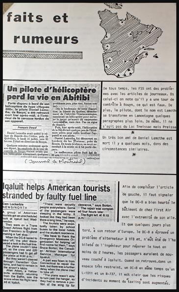 """La page """"Faits et rumeurs"""" du journal """"Le Moyen Terme"""""""