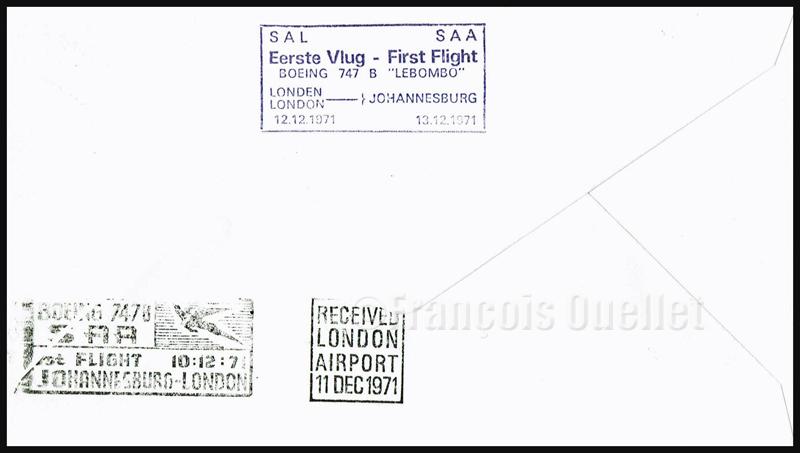 """11 décembre 1971. Endos de l'enveloppe de poste aérienne pour le premier vol du Boeing 747B ZS-SAN """"Lebombo"""" de Johannesburg à London. Comprend également l'étampe pour la date de retour du 12 décembre 1971 vers Johannesburg."""