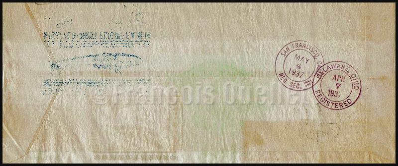 Poste aérienne - enveloppe premier vol Hong Kong vers San Francisco avec le China Clipper en 1937. Endos.