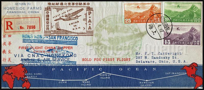 Poste aérienne - enveloppe premier vol Hong Kong vers San Francisco avec le China Clipper en 1937.