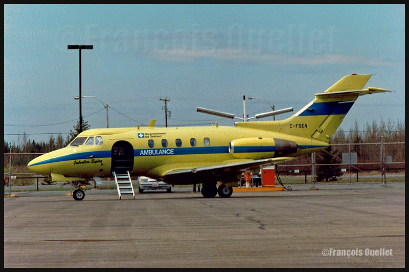 HS-125 Avion ambulance C-FSEN Valentine Lupien du Gouvernement du Québec vers 1986