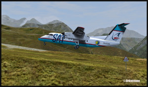 Un avion de la Sat Airlines est en courte finale pour l'altiport de Peyresourde