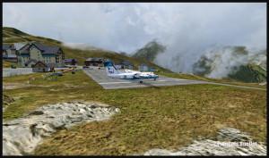 Aéroport de Peyresourde Balestas et un avion DHC-8-202Q de Sat Airlines Sakhalin Energy