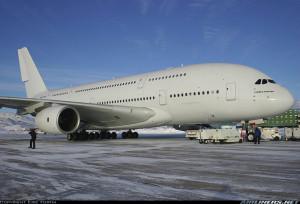 Airbus A380-841 à Iqaluit, Canada, pour les tests de froid