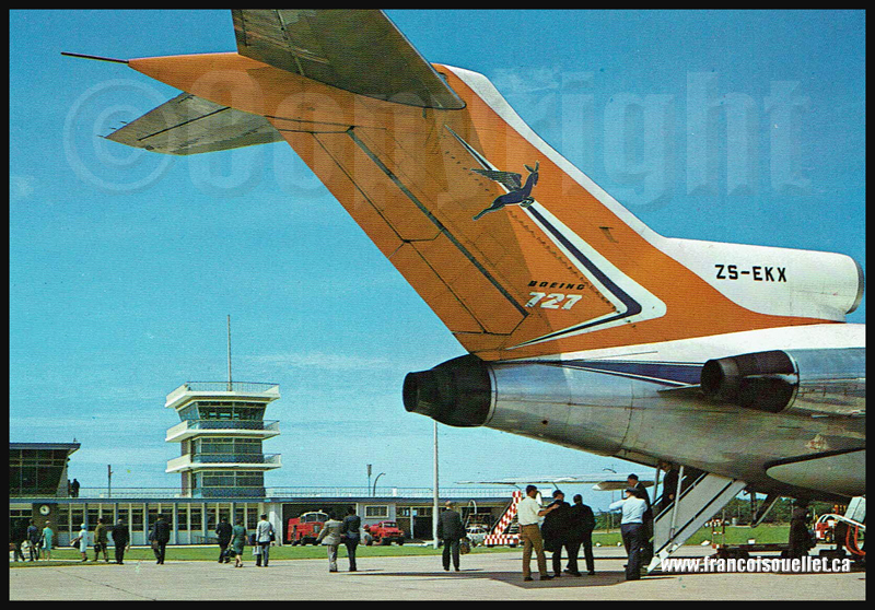 Passagers d'un Boeing B-727 ZS-EKX à Cape, Afrique du Sud sur carte postale aviation