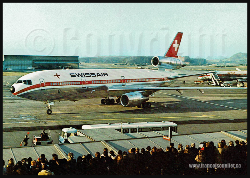 DC-10 de Swissair et DC-8 d'Iberia sur carte postale aviation