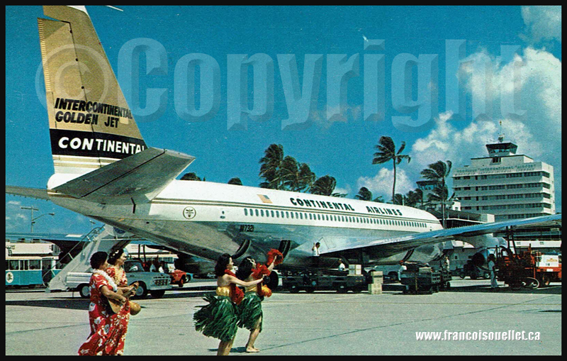 Continental Airlines à Hawaii sur carte postale aviation.