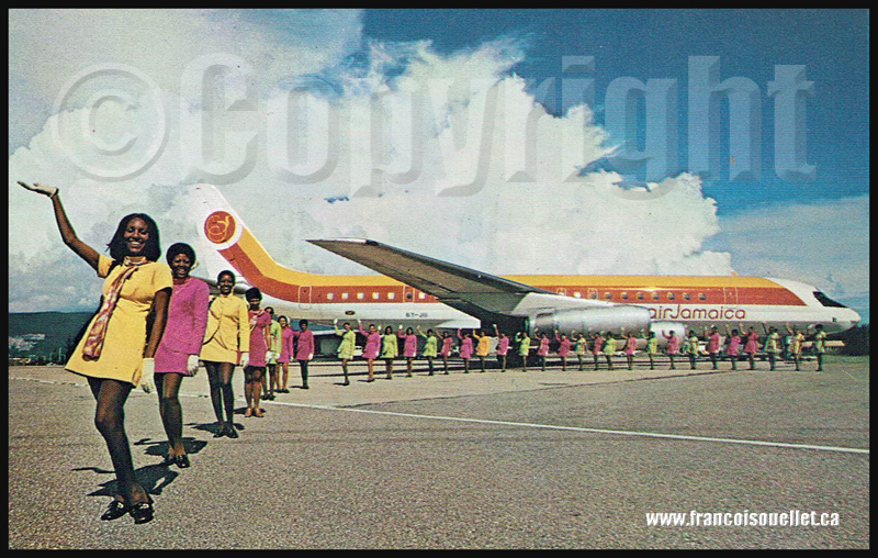 Femmes et Air Jamaica DC-8 Super 62 sur carte postale aviation