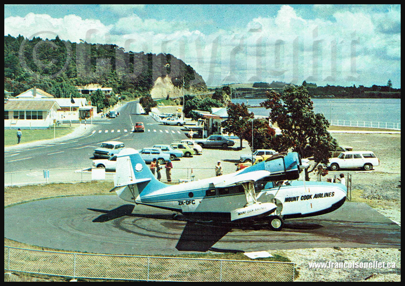 Grumman Goose de Mount Cook Airlines en Nouvelle-Zélande sur carte postale aviation