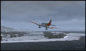 Un DC-3 sur skis tourne en finale pour la piste glacée de Homer en Alaska (FSX)