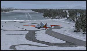 DC-3 virtuel sur skis en courte finale pour la piste de glace de Homer (PAHO) en Alaska (FSX)