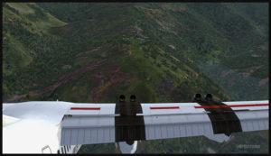 Un avion virtuel De Havilland DHC-7 est en approche pour un atterrissage sur la piste en pente de l'aéroport de Fane (FNE) en Papouasie Nouvelle-Guinée PNG (FSX).
