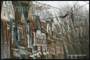 Des maisons se reflètent sur le Musée des beaux-arts de l'Ontario. Hiver 2016