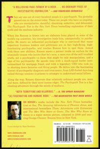 """Quatrième de couverture du livre de Jon Ronson """"The Psychopath Test"""""""