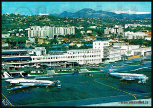 Aéroport de Nice - Côte d'Azur, France 1965 sur carte postale aviation