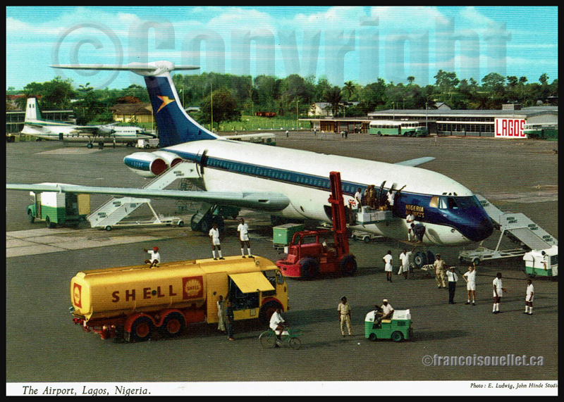 Aéroport de Lagos, Nigeria, et personnel au sol sur carte postale aviation