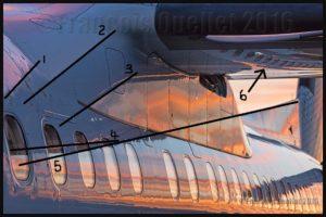 Théorie photographie: détails des lignes diagonales sur un Q-400 de Bombardier