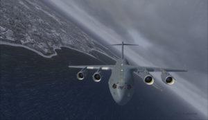 Avion militaire canadien C17-A vire vent arrière piste 10 à l'aéroport virtuel de Block Island (KBID) aux États-Unis (FSX)