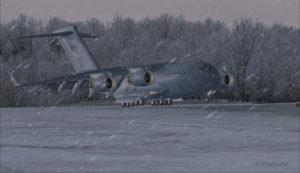 Avion militaire canadien C17-A atterri piste 10 à l'aéroport virtuel de Block Island (KBID) aux États-Unis (FSX)
