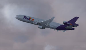 MD-11 de FedEx au décollage de l'aéroport de Eagle County (KEGE) (FSX)