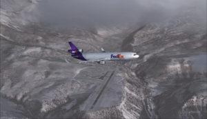MD-11 de FedEx passe par le travers de l'aéroport de Telluride (KTEX) (FSX)
