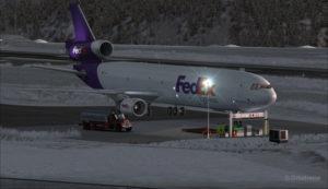 Stationnement temporaire improvisé pour un MD-11 de FedEx à l'aéroport de Telluride (KTEX) (FSX)