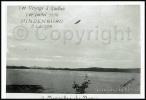 The Hindenburg airship over Quebec in 1936. The Quebec bridge is visible in the background.