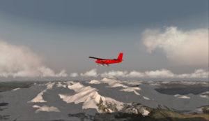 Au-dessus des sommets enneigés du Chili, en route vers Rothera, Antarctique