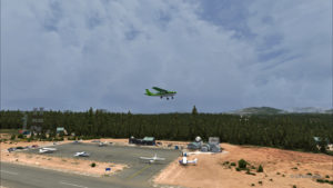 Le Cessna C-207 est au décollage de la piste de Blue Canyon-Nyack