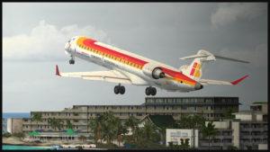 Aéronef virtuel CRJ-900ER de la compagnie Air Nostrum au départ de l'aéroport virtuel de St-Martin (Fly Tampa St.Maarten)
